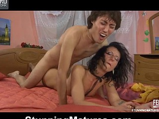 Randy black-haired mother i'd like to fuck throating a youthful pole and getting fucked on the bed