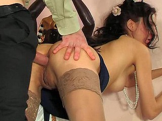 Dressed up for the outing a skinny cutie gets her brown eye pierced after oral