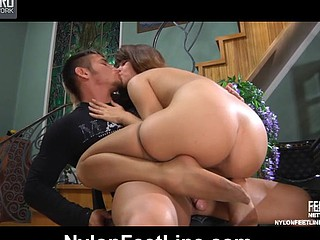 Jessica&Govard nylon footfuck action