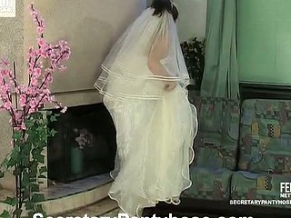 Red sexy bride in tan hose willing for wild banging previous to the ceremony