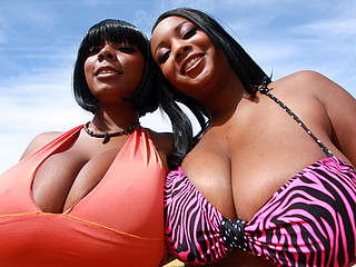 Stacy and Aline are sexy big titty black chicks that get down and smutty. They fuck ramrods with their big bouncy marangos getting all that stud juice on their chesticles. U have to watch this massive mamery duett tag team to fortunate white dudes...