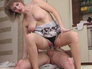 Doll-faced chick in sheer nylons puts to work her face hole and her beaver