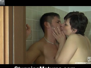 Horny mom surprises a studly guy in the shower willing for some old fine fuck