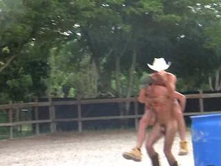 Two pumped up defoliate cowboys