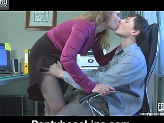 Ribald secretary giving head and getting nailed in her crotchless hose