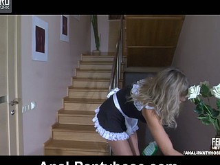 Perverted French maid nailed down and a-hole screwed in her ultra shiny conveyor