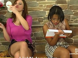 Emotive lezzie in tan stockings French kisses whilst identity card a jail-bait