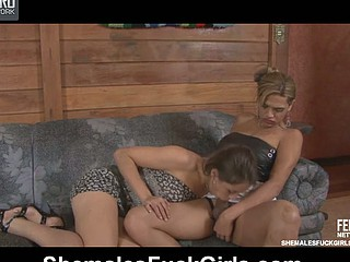 Tayna&Fernanda ladyboy fucks lady action
