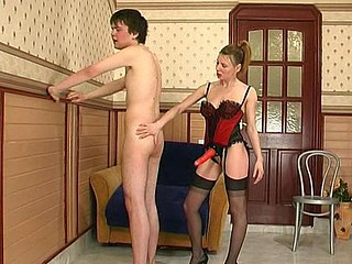 Slutty chick taking the almost any form her strap-on power in fucking with a guy