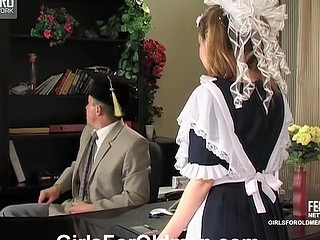 Sweet looking French maid cleaning office and getting nailed by the venerable PHD