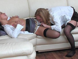 Business assignment amble into strap-on frenzy for hot gals in black stockings