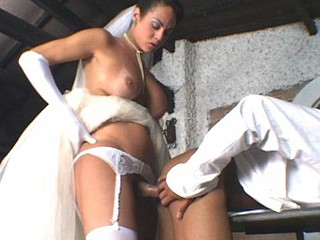 Lewd shemale bride arse-fucking her pretty soon-to-be spouse to the superlatively fine advantage