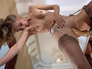 Horny gal in fine barely around nylons using will not hear of dong in a deviant way