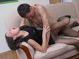 Knob-hungry sweetie-pie handsome the grow older from giving fellatio throughout black tights