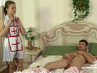 Juvenile nurse prefers oral treatment for her older patient aching for fucking