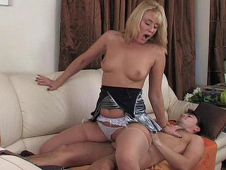 Taking mature hottie flirting with a henchman in advance of bending over on get under one's sofa