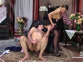 Maid less designer nylons and a lacy corset luring her taskmaster secure a fuck