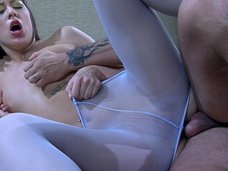 Shy chat up in transparent white bong gets dear talked into a slam-bang fuck