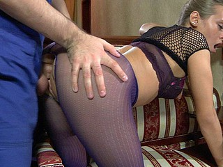 Pretty hottie in crotchless purple tights worshipped and drilled by a handyman