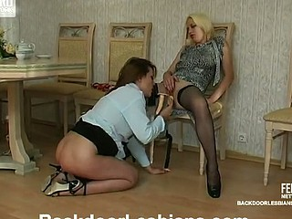Lesbo French maid getting her poop waterfall strap-on gangbanged heavens all her fours