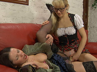 Lesbian older chick an her younger girlfriend get joy from strap-on games