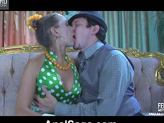 Clad in retro freshen chick receives derriere fucked in suspender nylons and beads