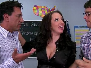 `Kelly Devine is a substitute teacher for Remedial English 101. Her students Ramon and Marco are earnest in their attempt to overcome their difficulty with the language but are even greater amount keen on trying to acquire into Kelly's pants. They each attempt to woo her in their own way until a fight explodes betwixt 'em over who is `dude sufficiently` to please Kelly. Lil' do they know that Kelly is a promiscuous doxy with a thing for Latino dick and in advance of u can say, `We need some greater amount Lemon Pledge,` Kelly is widening her holes broad open as this hottie desires no thing greater amount than a nice old fashioned DP!`