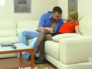 Alice&Nicholas nylon footsex action