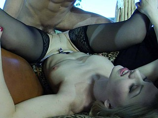 Golden-Haired teaser clad in amazing darksome stockings seducing a hung delivery chap