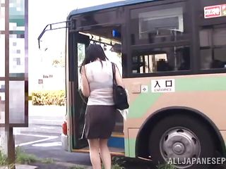 It was a hot day and the busty Nippon milf hurried to catch the bus. She was sweaty and through that transparent blouse her luscious form were clear. As she waited to reach her destination the guy next to her touched her billibongs with precaution and seeing that she doesn't opposed that guy became rude and groped her roughly