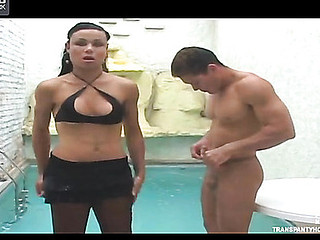 Sultry t-girl in black hose pumping shit out of guy
