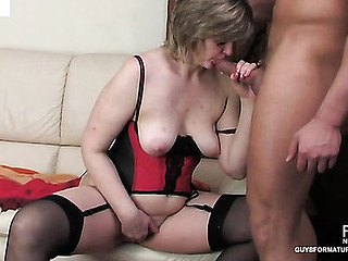 Nasty mother i'd like to fuck watched during the time that sex-toy toying getting mouth drilled and drilled hard