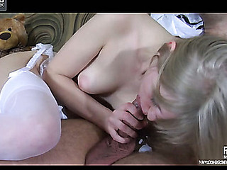 Nasty golden-haired schoolgirl in a pleated petticoat and white nylons gets pressed