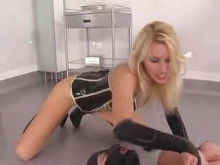 Latex fetish porn with hot blonde and her submissive