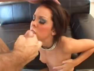 Glamorously slutty girl sucks cock for facial
