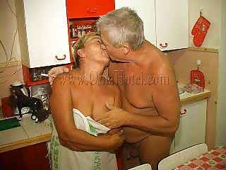 Enjoy watching this old pair having lustful couch sex. The old man delights himself with this granny, kissing her and then he acquires a short blowjob from her. She takes his wrinkled cock betwixt her lips and gives it a hard suck. If she wears a denture that doesn't mean granny can't engulf cock anymore!