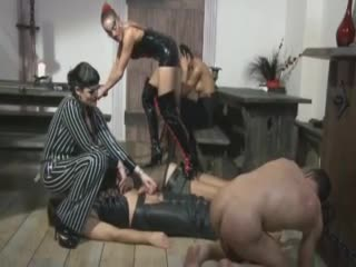 Femdom group play with male ache