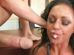 Kerry Louise babe let a guy unload cum on her face