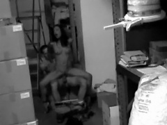 Younger employees are busted on security cam fucking after work...